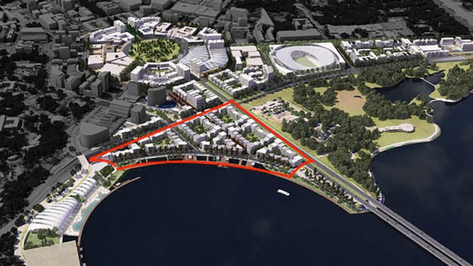 Apartment and promenade development is within the red lines and a proposed aquatic centre is to the left (image base from the City to the Lake) proposal