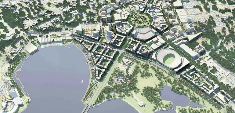 Proposed City to the Lake West Basin development. (Source http://www.lda.act.gov.au/en/city-to-the-lake)